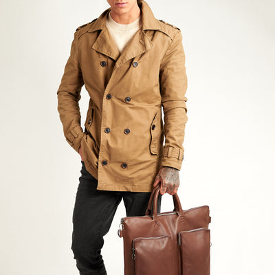 Style model with jacket and tote. Brown tote zipper bag by Capra Leather. Handmade men work bag.