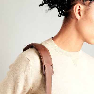 Style strap detail. Brown tote zipper bag by Capra Leather. Handmade men work bag.