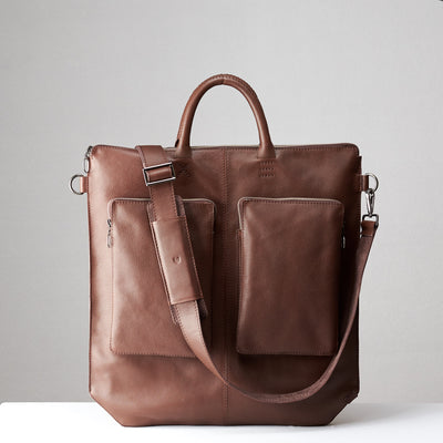 Front view detachable shoulder strap. Brown tote zipper bag by Capra Leather. Handmade men work bag.