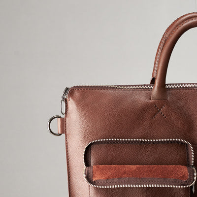 Front pocket suede detail. Brown tote zipper bag by Capra Leather. Handmade men work bag.