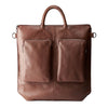 Front view leather. Brown tote zipper bag by Capra Leather. Handmade men work bag.