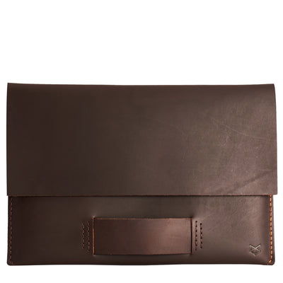 Closed dark leather case for Macbook pro touch bar. Leather mens Apple's laptop sleeve for men