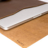 Soft interior. Tan leather Macbook pro touch bar sleeve. Designer unique mens cases. Hand stitched Macbook Pro sleeve