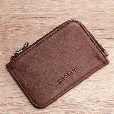 Designer cards pouch. Minimalist brown zipper card holder. Men's bills and coins wallet. Slim designer credit cards holder