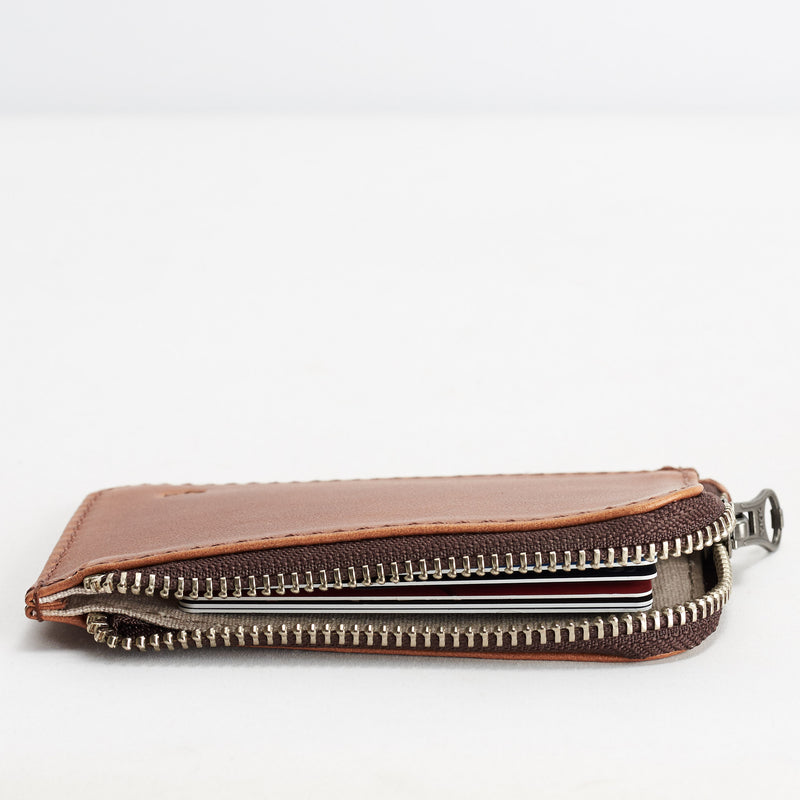 Zip Card Holder · Tan