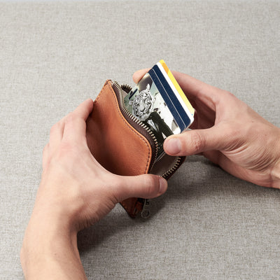 Gift for men. Cover. Minimalist tan zipper card holder. Men's bills and coins wallet. Slim designer credit cards holder