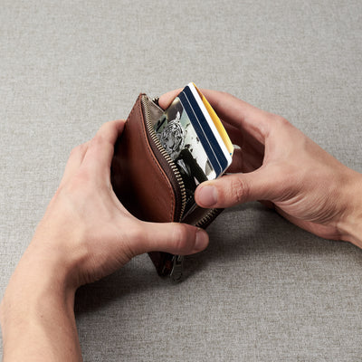 Gift for men. Minimalist brown zipper card holder. Men's bills and coins wallet. Slim designer credit cards holder