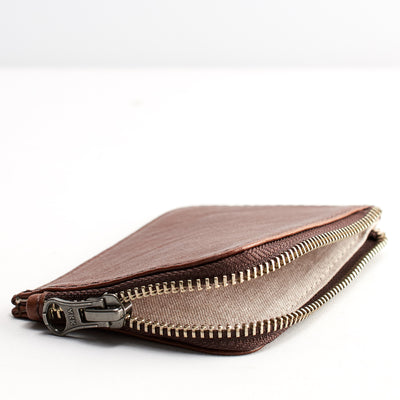 Linen interior. Minimalist brown zipper card holder. Men's bills and coins wallet. Slim designer credit cards holder