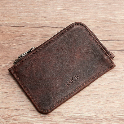 Zip Card Holder · Dark Brown