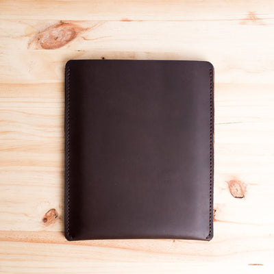 Back. Dark brown iPad pro leather sleeve. Unique designer mens leather folio for Apple's tablet