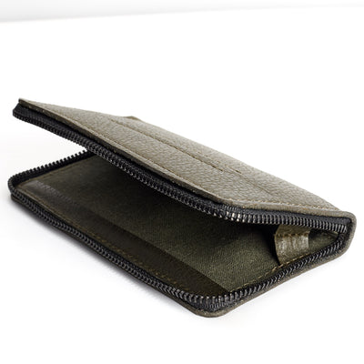 Detail linen interior. Green iPhone leather wallet stand case for mens gifts