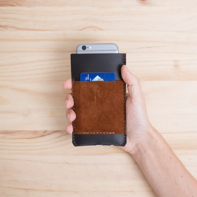 Holding an Handmade iPhone case  leather wallet for iPhone 8 Plus, iPhone x, iPhone 10,