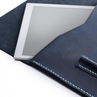 Stitching detail. Blue handcrafted leather reMarkable tablet case. Folio with Marker holder
