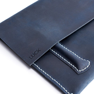 Custom monogram emboss.Blue handcrafted leather reMarkable tablet case. Folio with Marker holder