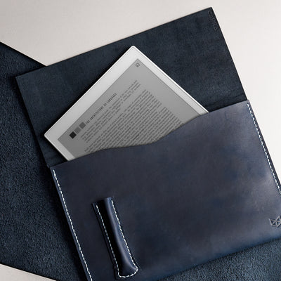 Soft interior. Blue handcrafted leather reMarkable tablet case. Folio with Marker holder