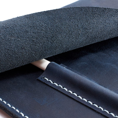 Marker pocket. Blue handcrafted leather reMarkable tablet case. Folio with Marker holder