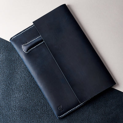 Style. Blue handcrafted leather reMarkable tablet case. Folio with Marker holder