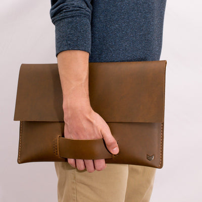 leather carrying suede textured handle. Macbook pro touch bar sleeve.  MacBook Pro 13 15 16 inch leather case sleeve by Capra Leather.