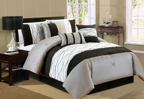 Ripple Charcoal Ensemble Housse De Couette 7 mcx