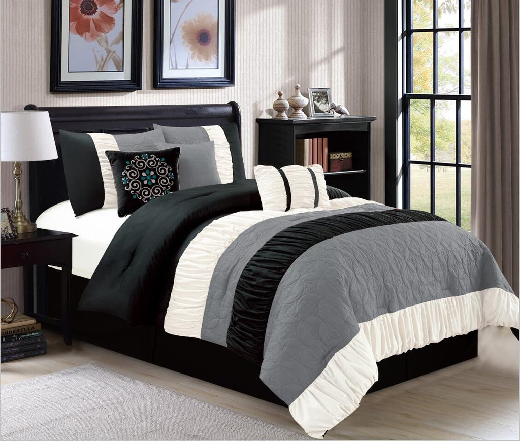 canterbury noir ensemble douillette 7 mcx mega vente d 39 entrepot. Black Bedroom Furniture Sets. Home Design Ideas