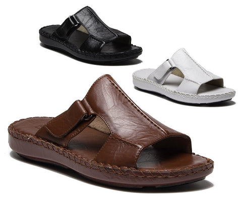 Majestic Men's 71201 Leather Lined Slip On Open Toe Slides Sandals