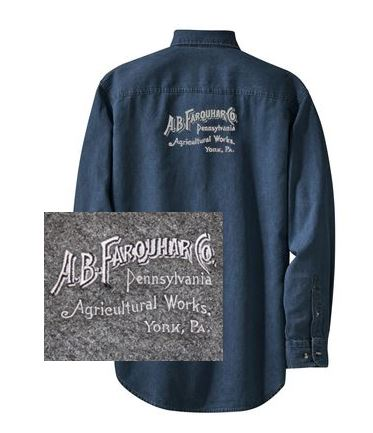 Long Sleeve Denim Shirt with Farquhar Logo on Back
