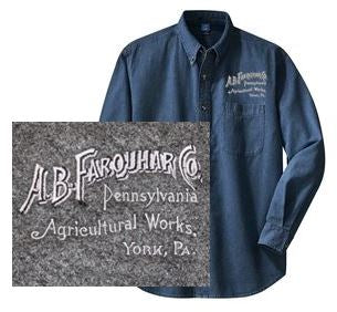Long Sleeve Denim Shirt with Left Chest Farquhar Logo