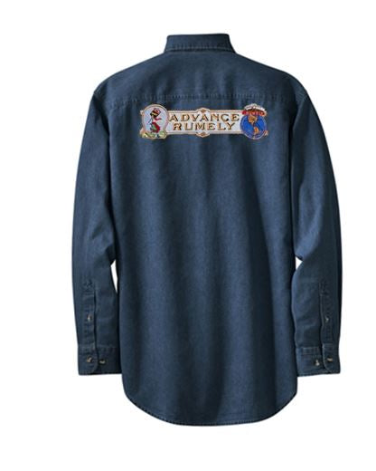 Long Sleeve Denim Shirt with Advance Rumely Logo on Back