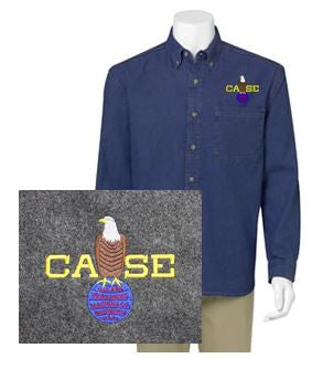 Long Sleeve Denim Shirt with Left Chest Case Color Logo
