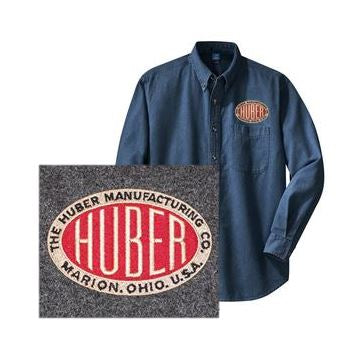 Long Sleeve Denim Shirt with Left Chest Huber Logo