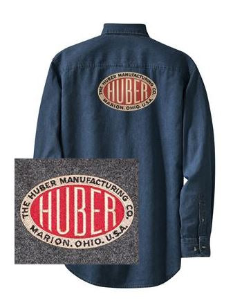 Long Sleeve Denim Shirt with Huber Logo on Back