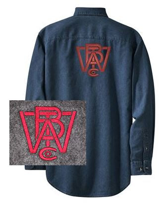 Long Sleeve Denim Shirt with Wood Brothers Logo on Back