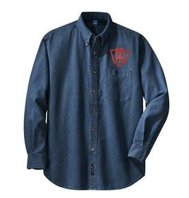 Long Sleeve Denim Shirt with Left Chest Wood Brothers Logo