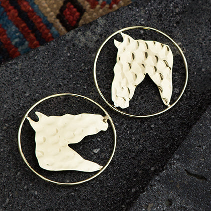 Horse Hoop Earrings
