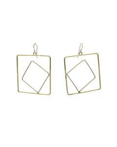 Nude Square Earrings