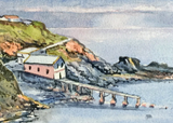 Old lifeboat station. Signed print 8 x 6 inches
