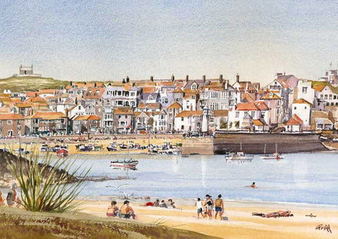 St Ives. Signed print 8 x 6 inches