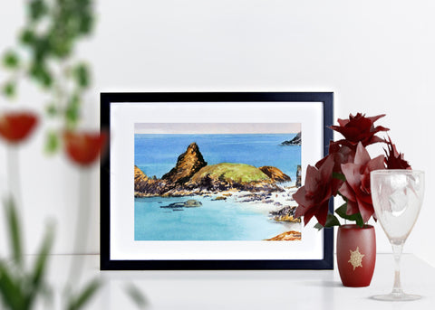 Kynance cove. Signed print 8 x 6 inches