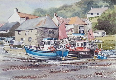 Cadgwith fishing village. Original watercolour