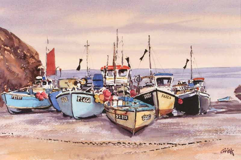Fishing boats. Lizard. Original watercolour