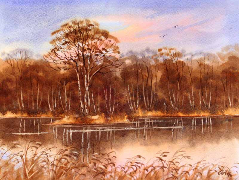 Lakeside 2. Original watercolour