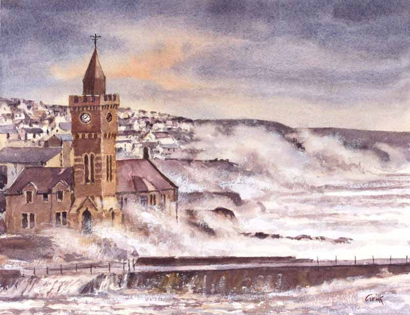 Porthleven storms. Original watercolour