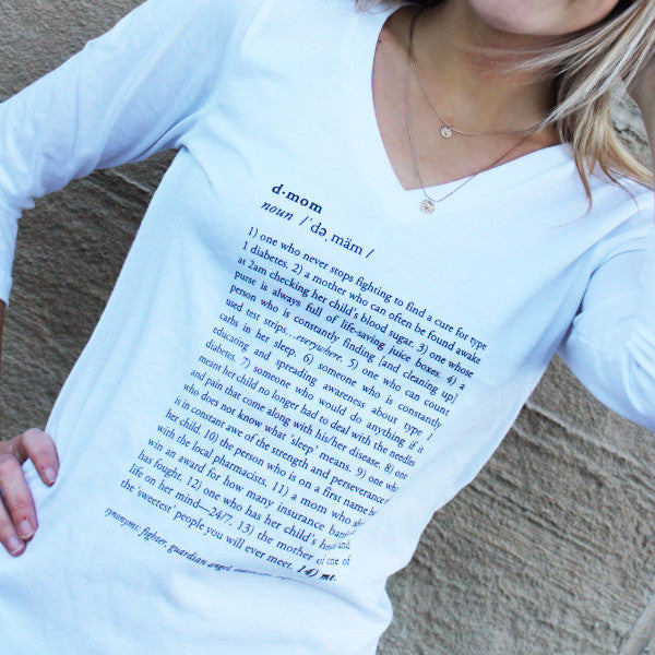 'D-Mom Defined' 3/4 Sleeve - Sugar Linings Swag - Diabetes Shirts and Clothing