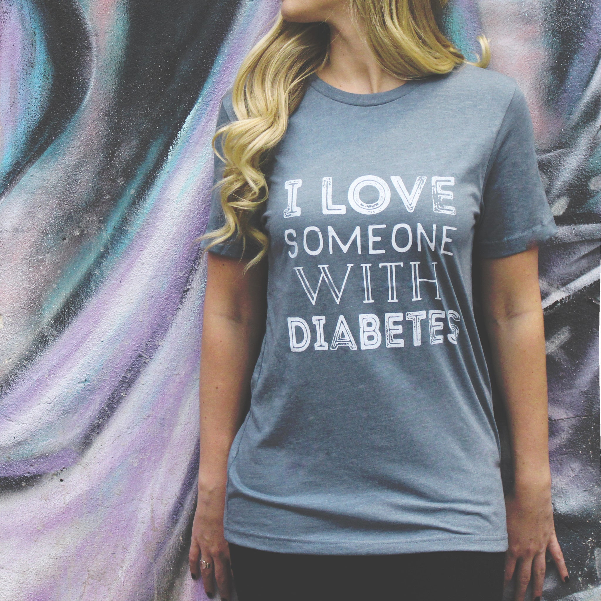 'I Love Someone with Diabetes' Blue Unisex Tee - Sugar Linings Swag - Diabetes Shirts and Clothing