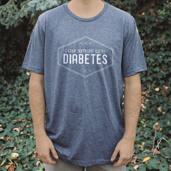 'I Love Someone with Diabetes' Dark Grey Unisex Tee - Sugar Linings Swag - Diabetes Shirts and Clothing