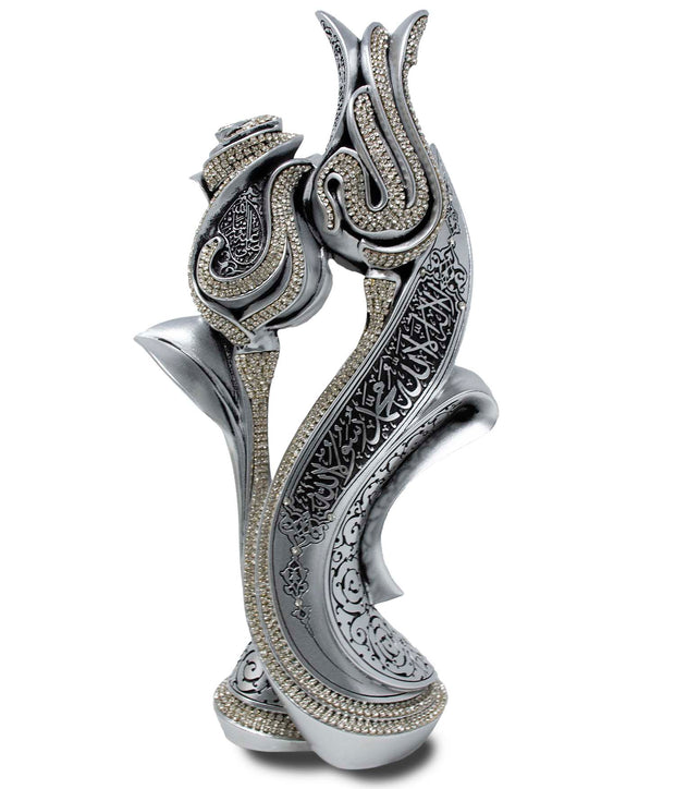 Lale Gul Tulip & Rose Allah-Muhammad Islamic Table Decor Large (Silver)