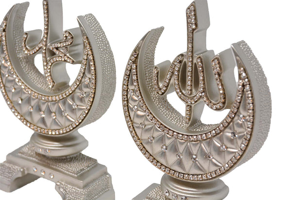 Allah-Muhammad Islamic Decor Crescents small (Mother Of Pearl)