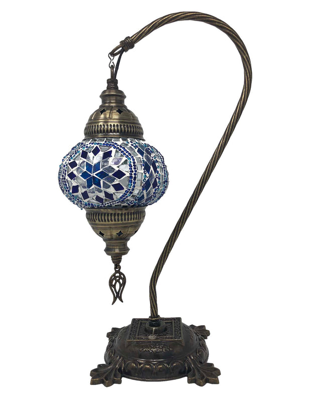Mosaic Turkish Lamp Swan Neck Royal Blue