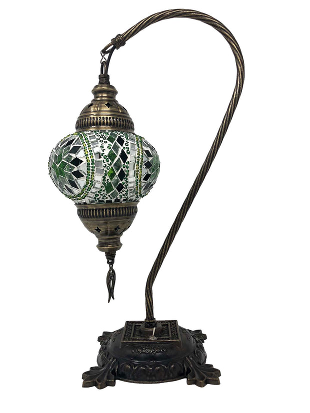 Mosaic Turkish Lamp Swan Neck Green