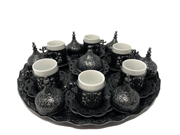Konya Antique Silver Traditional Handmade Ottoman Metal Turkish Coffee Set